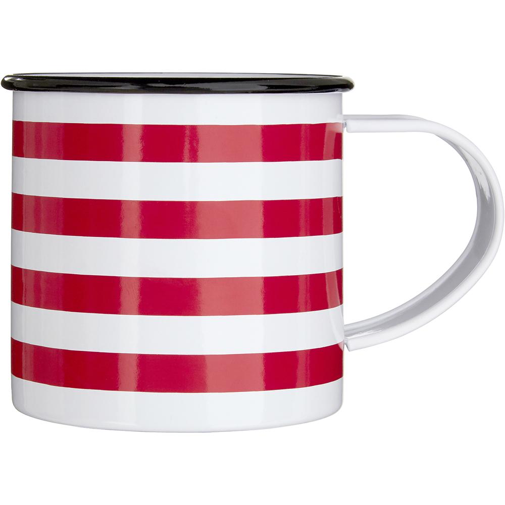 《Premier》琺瑯馬克杯(紅白條紋350ml)