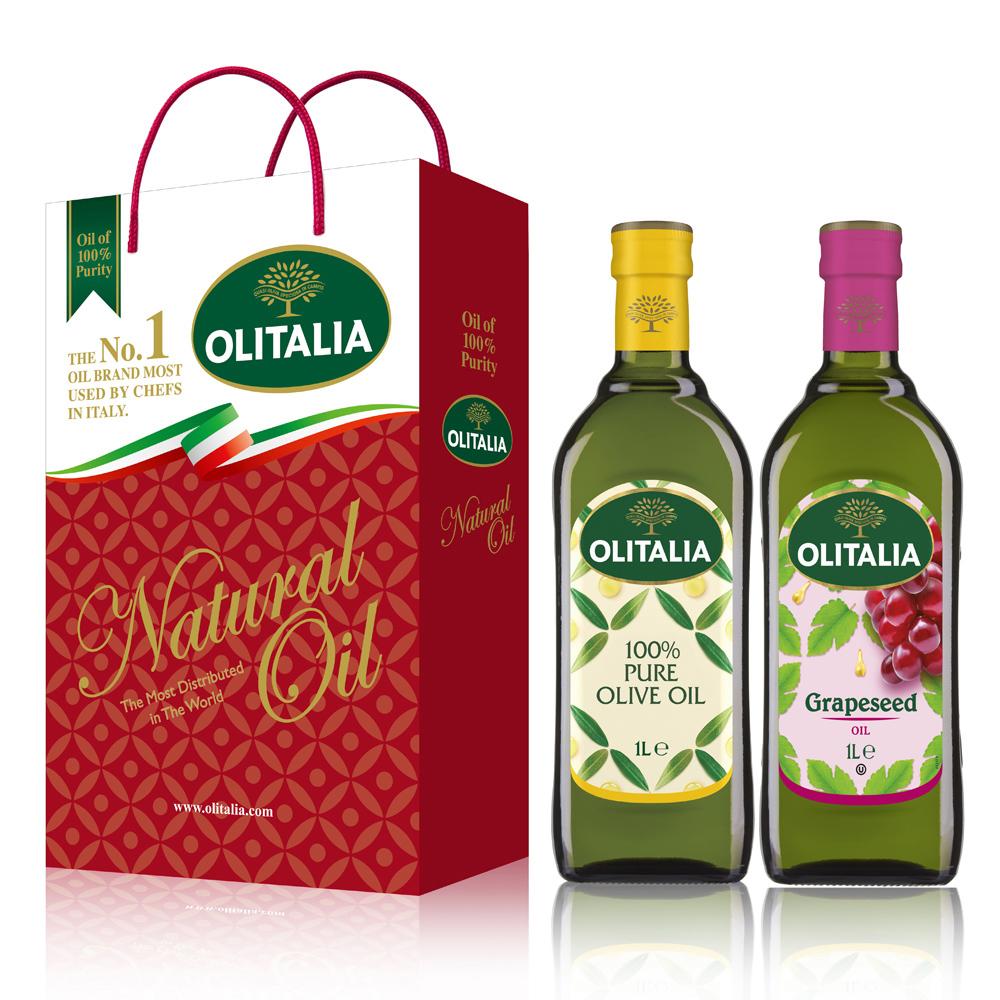 【Olitalia奧利塔】純橄欖油+葡萄籽油禮盒組(1000mlx2瓶)
