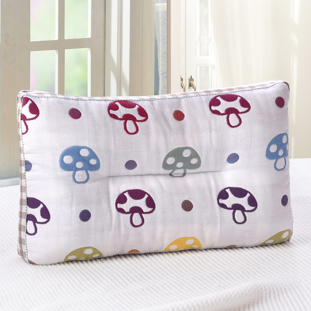 《HOYACASA彩色香菇》超柔紗布可水洗兒童Q棉枕
