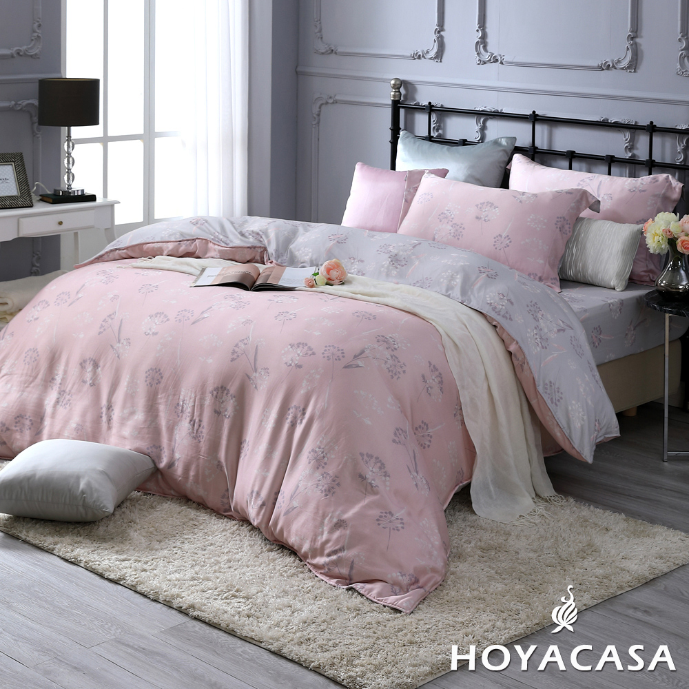 贈品牌浴巾一條!!《HOYACASA華爾芳庭》加大四件式抗菌天絲兩用被床包組