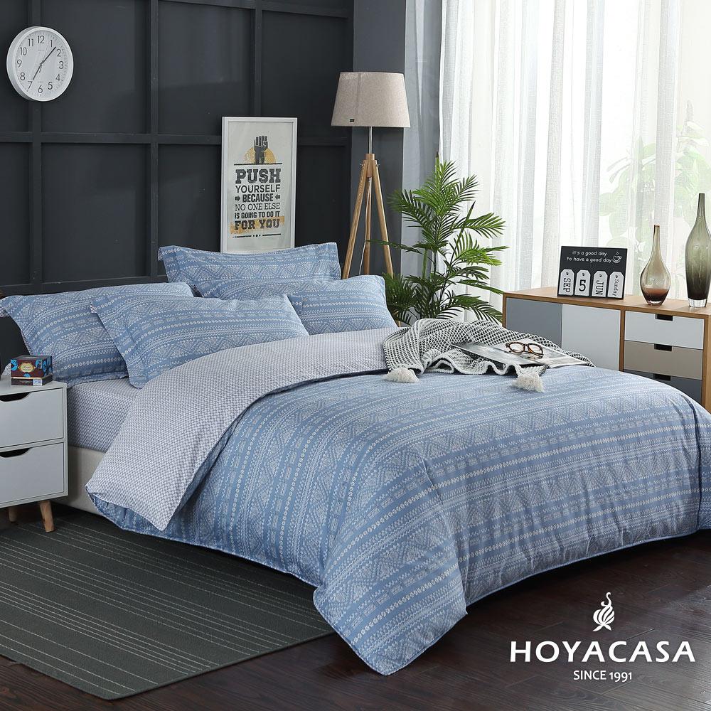 【HOYACASA歐諾】 加大四件式300織抗菌精梳長絨棉兩用被床包組