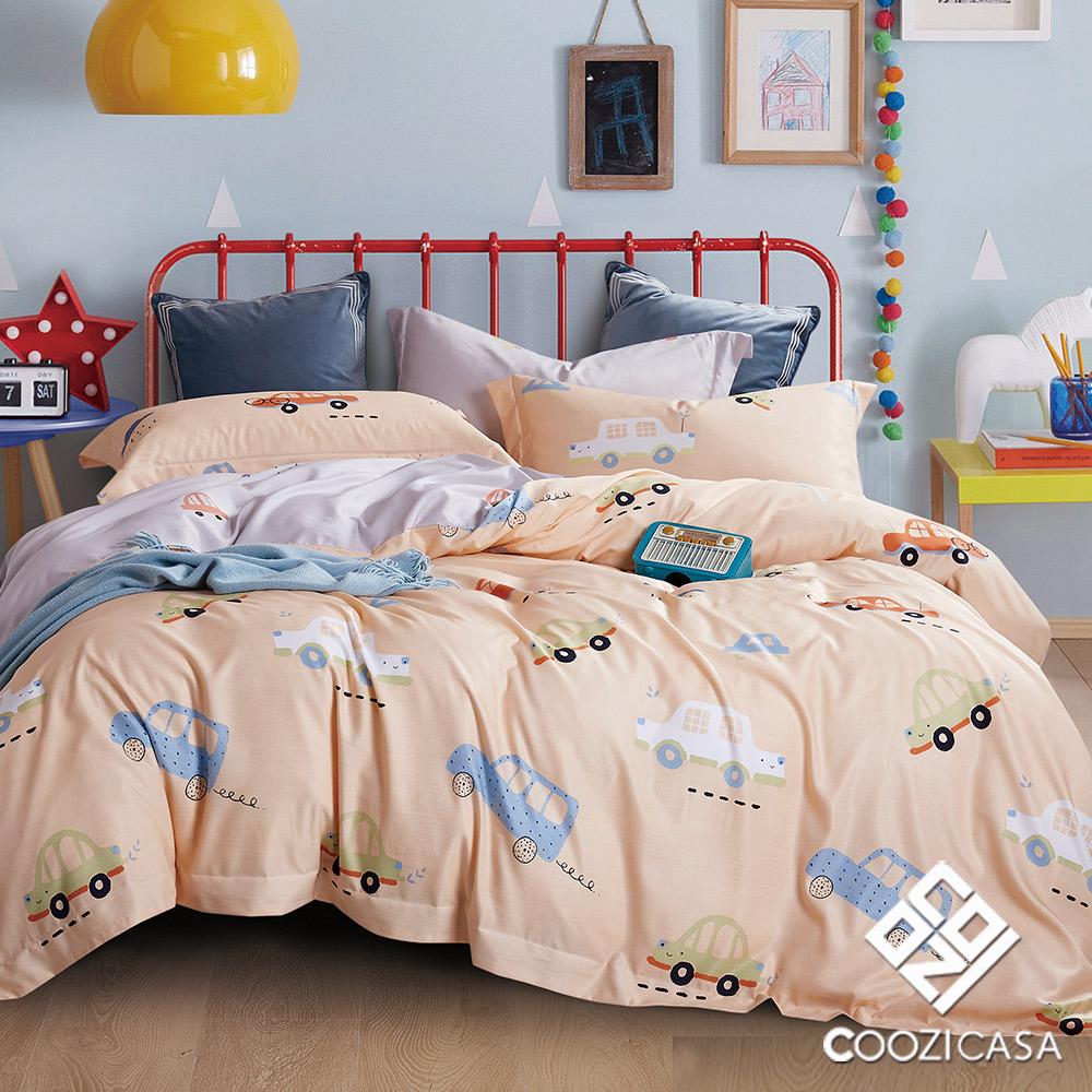 【COOZICASA汽車嘟嘟】雙人四件式吸濕排汗天絲兩用被床包組