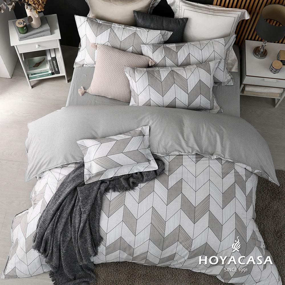 《HOYACASA卡薩》雙人四件式純棉兩用被床包組(天絲入棉30%)