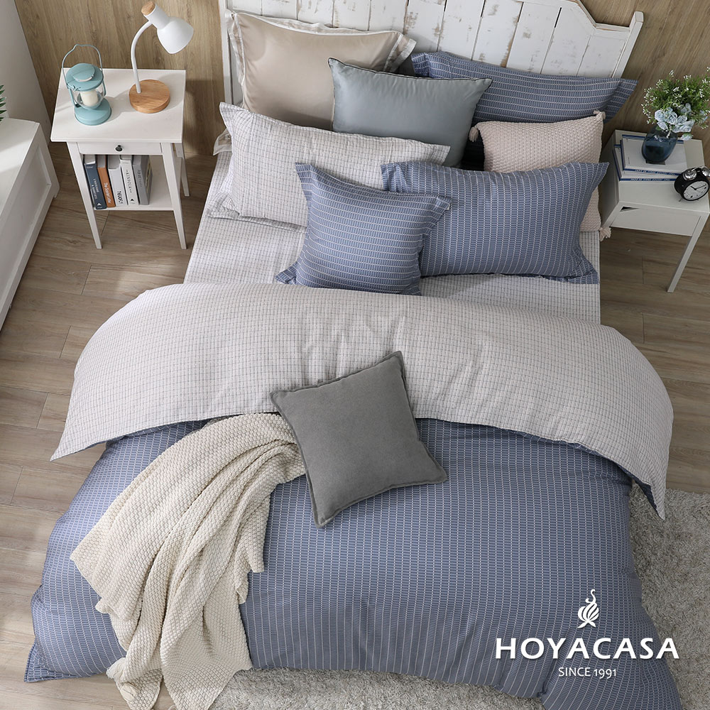 《HOYACASA紳士》單人三件式純棉兩用被床包組(天絲入棉30%)