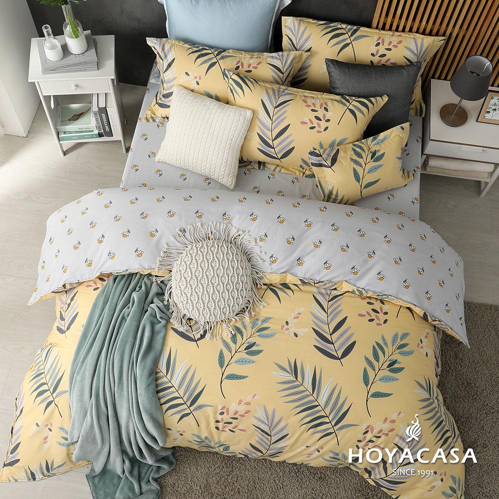 《HOYACASA絮語》加大四件式純棉兩用被床包組(天絲入棉30%)