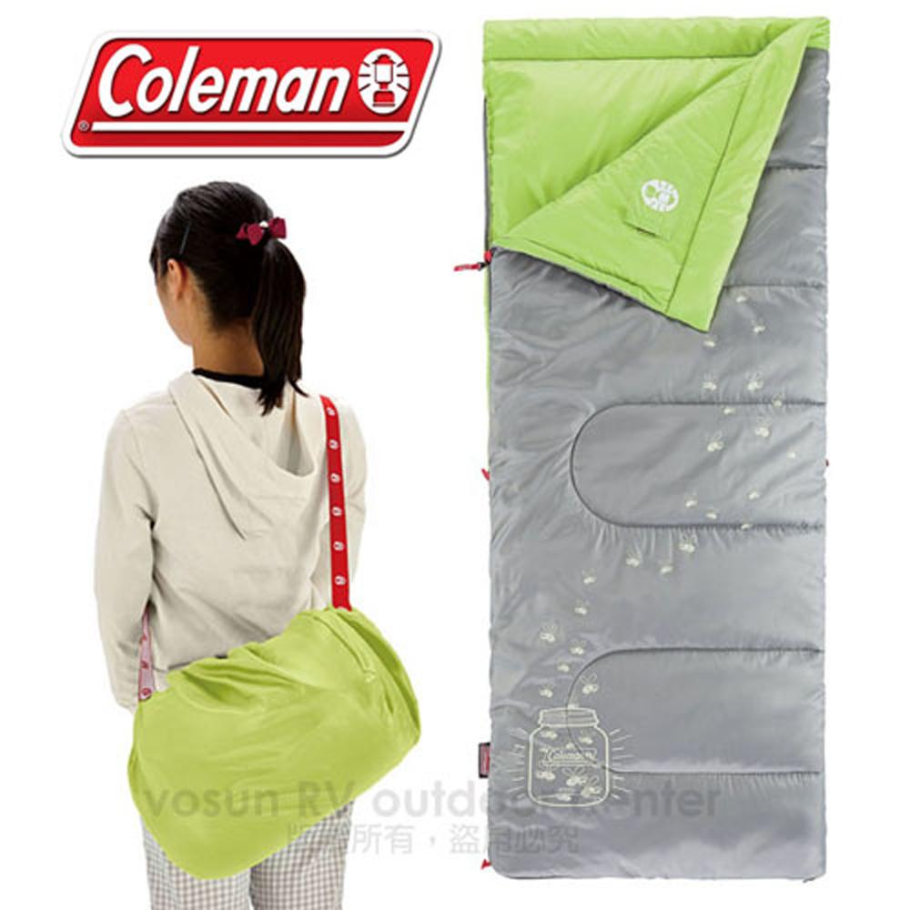 【美國 Coleman】夜光型兒童睡袋/7度C.信封型睡袋/可機洗.附收納袋.可當棉被.睡墊 /CM-22259 萊姆綠