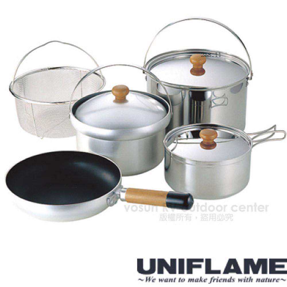 【日本 UNIFLAME】FAN5 DX不鏽鋼五件式鍋具組(4~5人).豪華家庭套鍋組.鍋具 / U660232