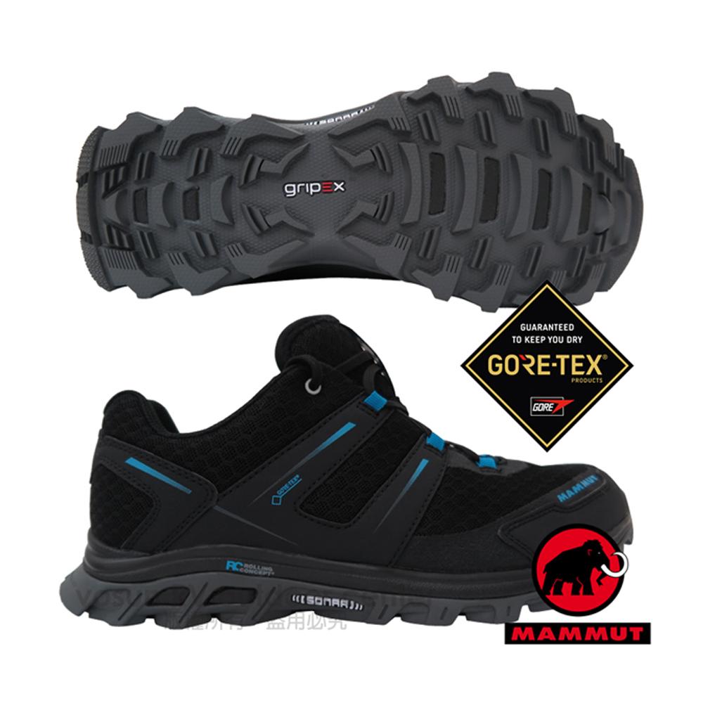 【瑞士 MAMMUT 長毛象】男新款 MTR 71 Trail Gore Tex 超輕量透氣多功能運動休閒鞋.登山/03040-00024 黑/藍