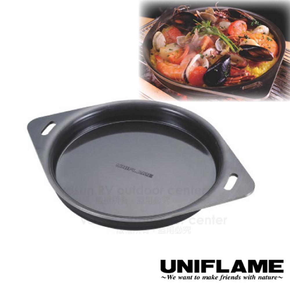 【日本 UNIFLAME】日本製 黑皮圓形鐵板(4.5mm厚度).煎鍋.平底黑皮鐵鍋.燒烤盤.煎盤_683262