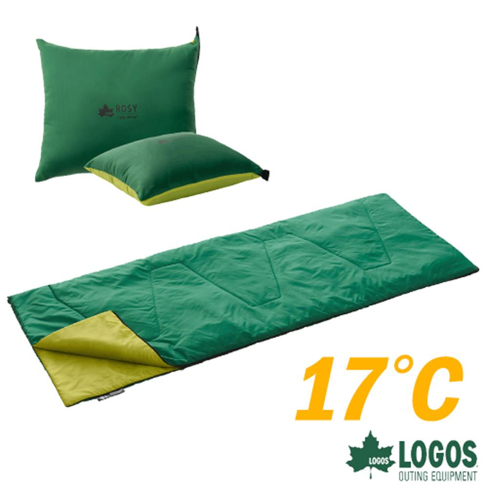 【日本 LOGOS】ROSY 17℃丸洗靠墊中空棉睡袋.信封型睡袋/中空纖維.透氣保暖.露營_72600900