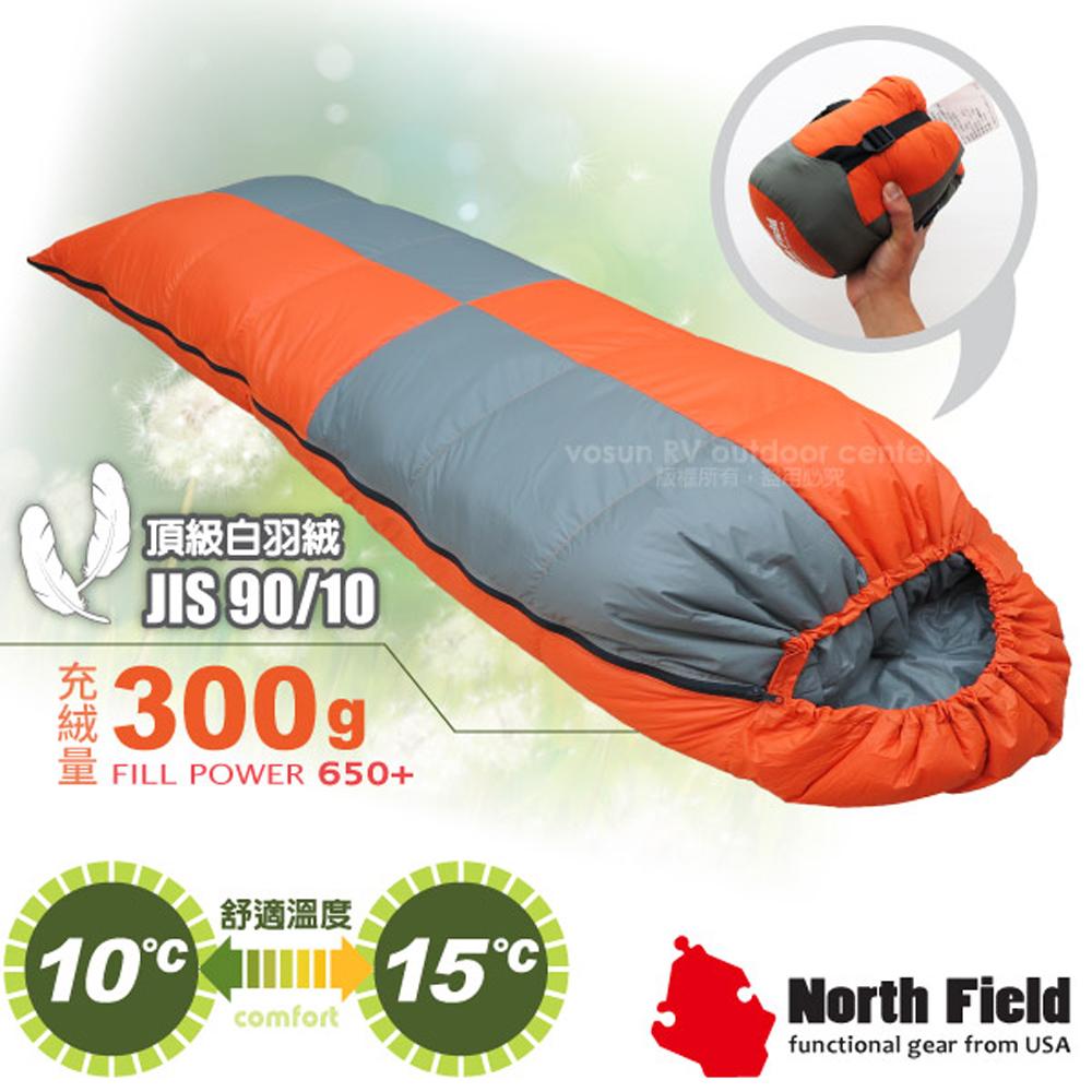 【美國 North Field】杜邦Tactel 頂級白羽絨睡袋300g(左右合併.信封型羽絨被)/登山露營/NFS300 岩橘