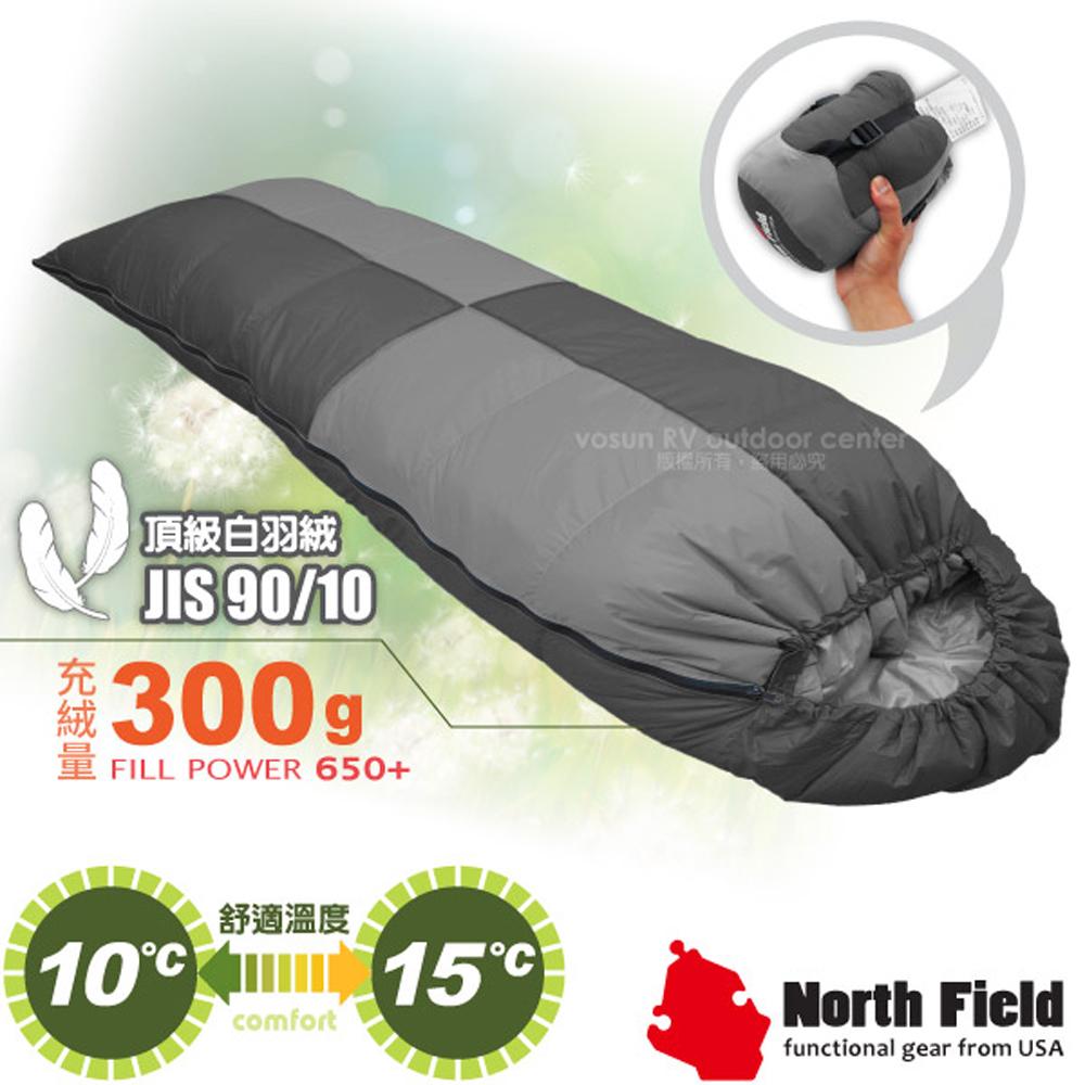 【美國 North Field】杜邦Tactel 頂級白羽絨睡袋300g(左右合併.信封型羽絨被)/登山露營/NFS300 岩灰