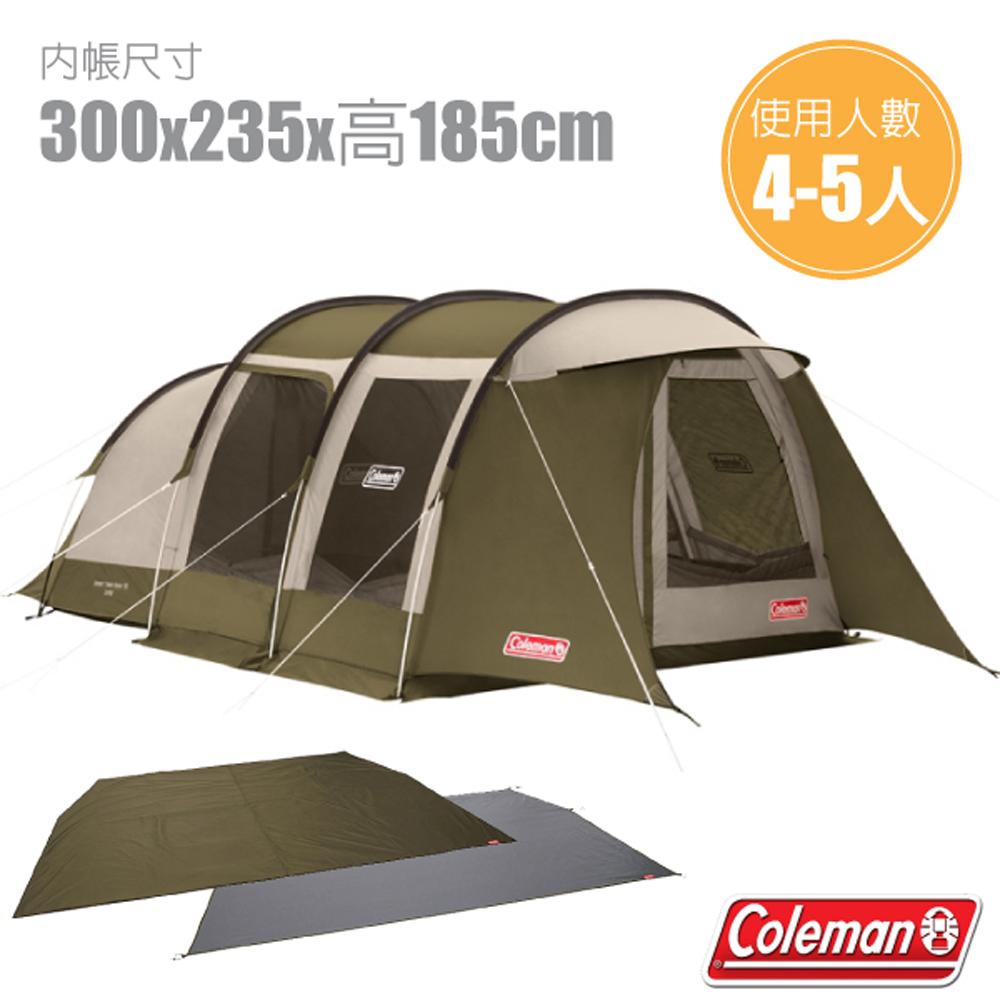 【美國 Coleman】綠橄欖版 隧道式2 ROOM LDX 露營4-5人家庭帳+地墊地布套裝組.一房一廳帳_CM-33801
