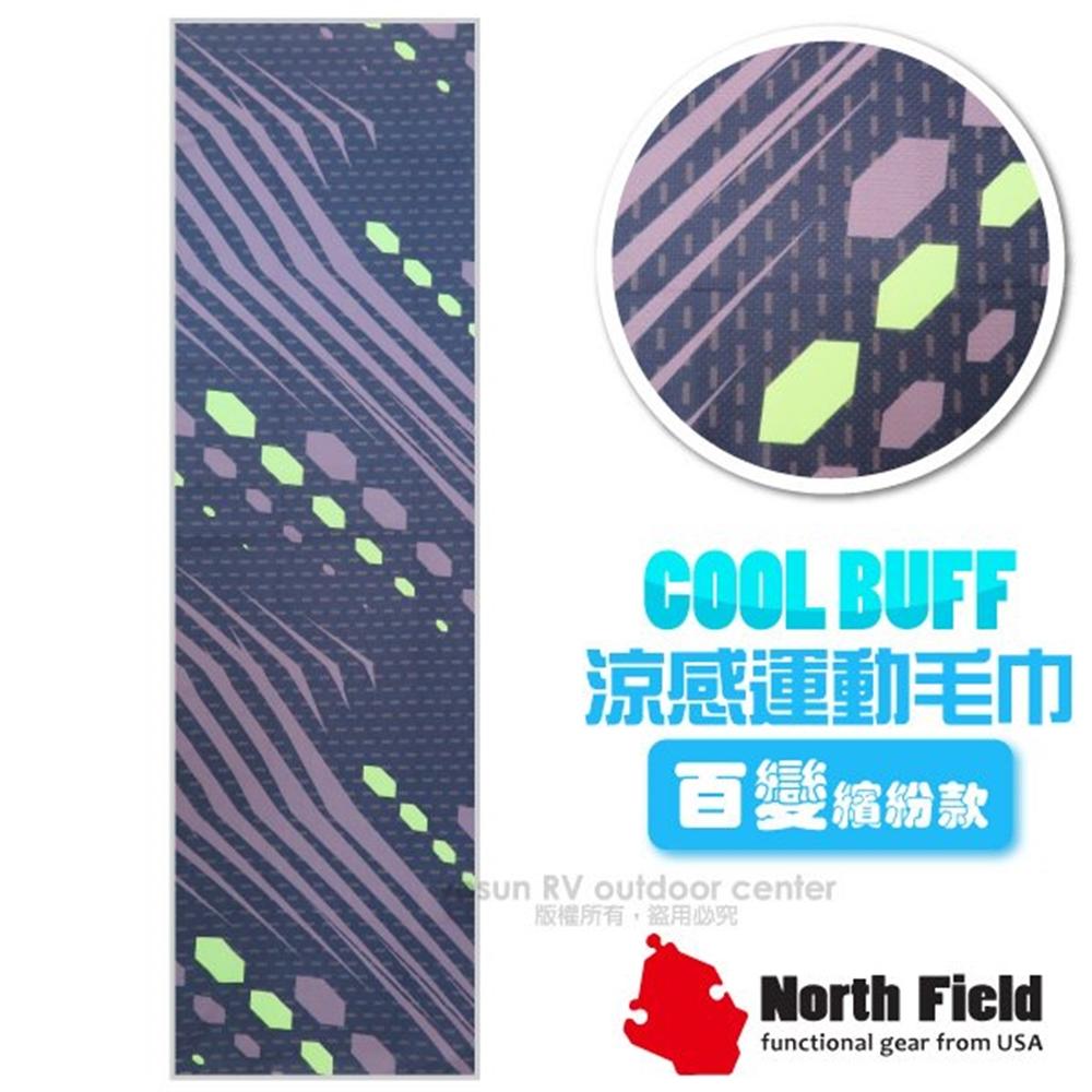 【美國 North Field】COOL BUFF 百變繽紛款 降溫速乾吸濕排汗涼感運動毛巾/加長型防曬/NF-077 紫色線條