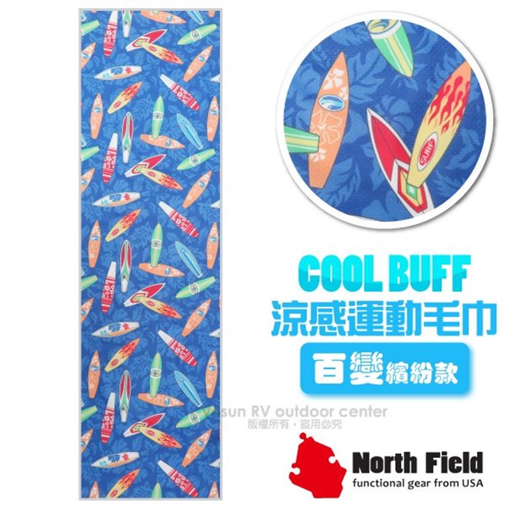 【美國 North Field】COOL BUFF 百變繽紛款 降溫速乾吸濕排汗涼感運動毛巾/加長型防曬/NF-077 嘻哈衝浪