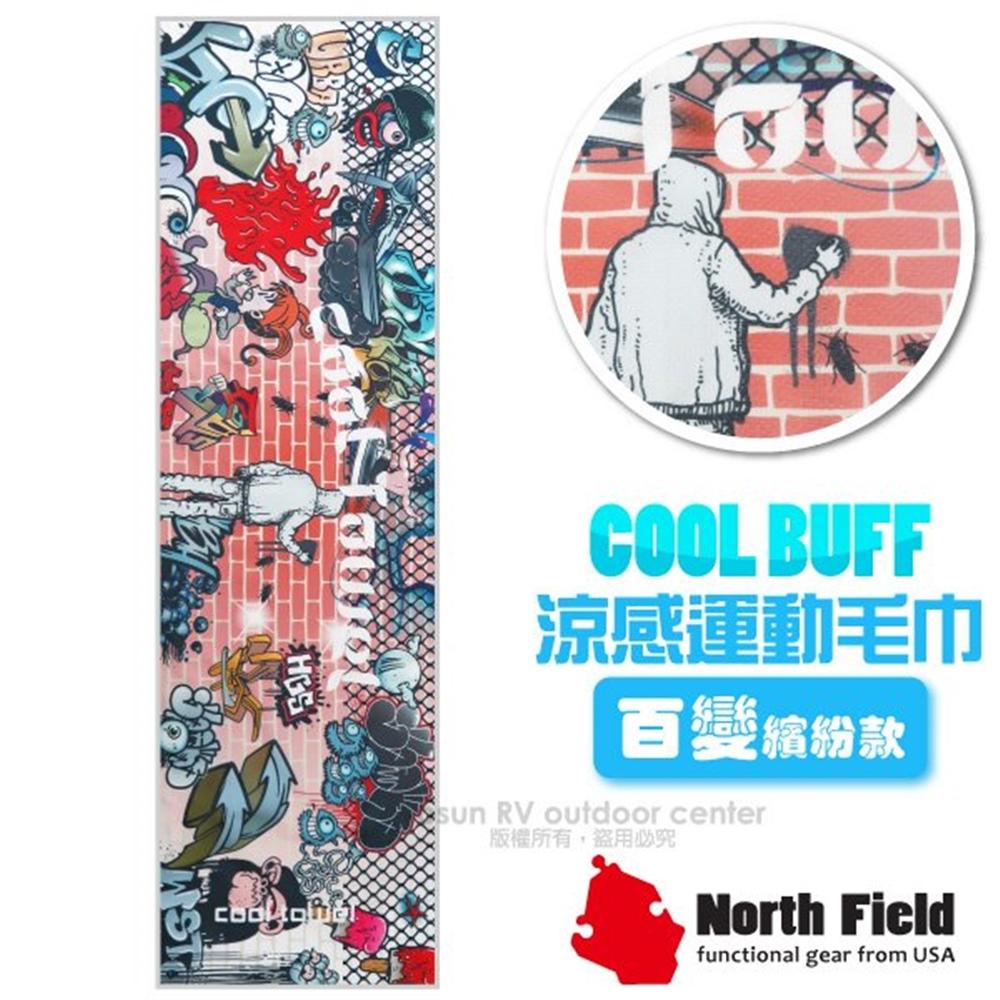 【美國 North Field】COOL BUFF 百變繽紛款 降溫速乾吸濕排汗涼感運動毛巾/加長型防曬/NF-077 塗鴉藝術