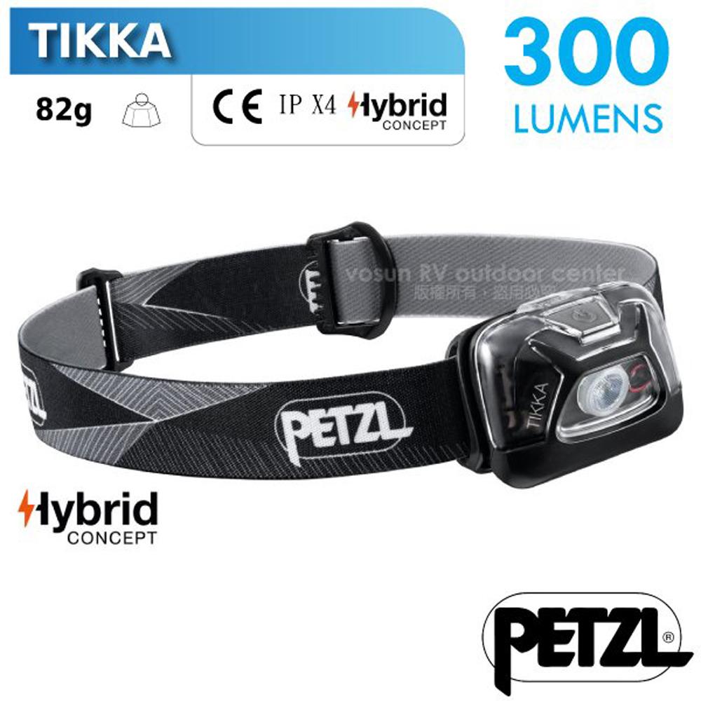 【法國 Petzl】TIKKA 超輕量省電頭燈(300流明.IPX4防水).LED頭燈.電子燈/E093FA00 黑