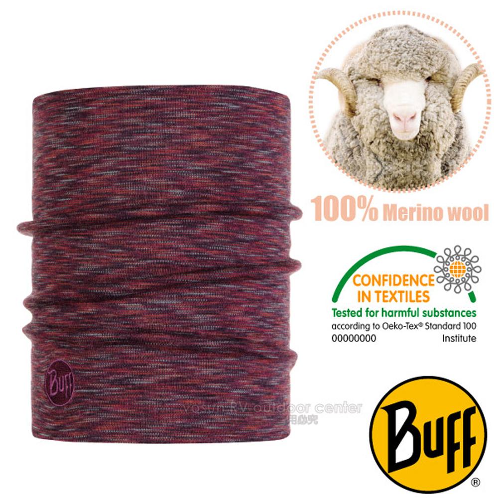 【西班牙 BUFF】頂級厚款 Merino 美麗諾羊毛超輕超彈性恆溫保暖領巾.魔術頭巾/117821 迷霧紅岩
