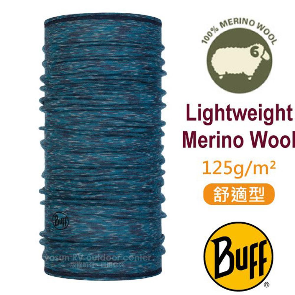 【西班牙 BUFF】舒適條紋 Merino 美麗諾羊毛超輕量超彈性恆溫保暖魔術頭巾_117819 編織海藍