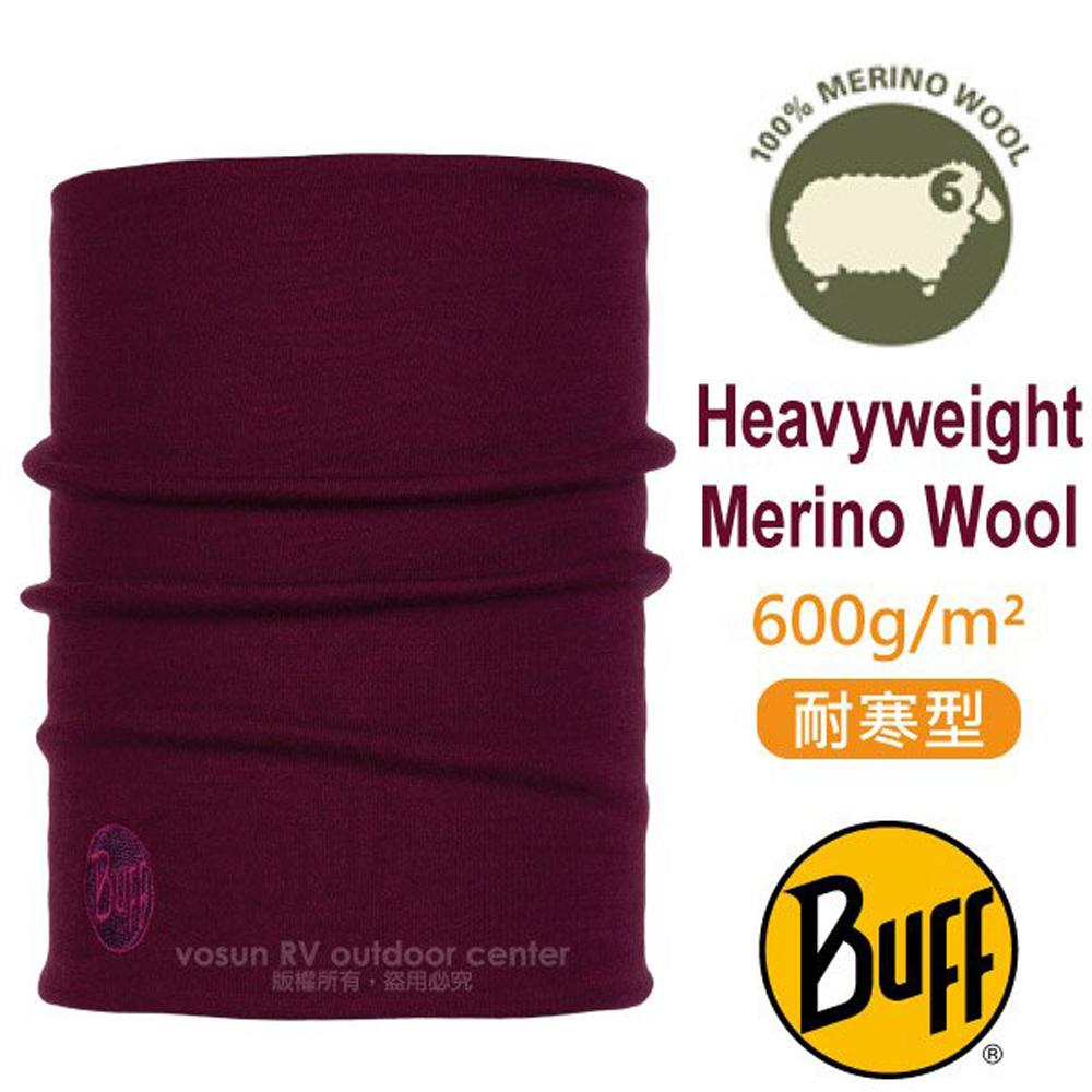 【西班牙 BUFF】耐寒素色 Merino 美麗諾羊毛重量級超彈性恆溫保暖魔術領巾_113018 葡萄紅
