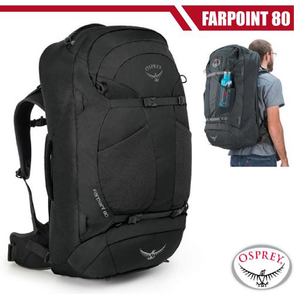 【美國 OSPREY】新款 Farpoint 80L 多功能自助旅行背包.行李箱/LightWire輕量合金背板/火山灰 R