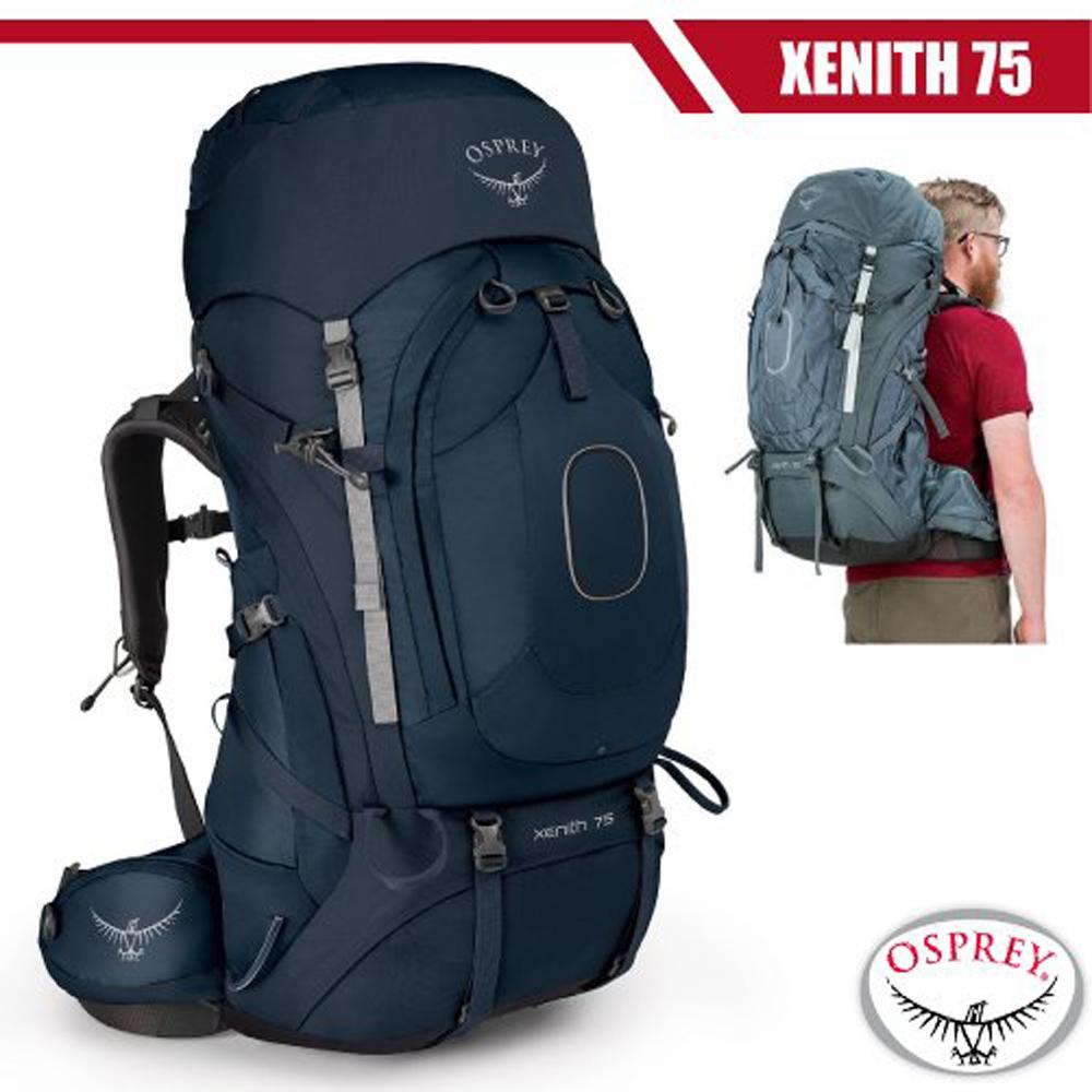 【美國 OSPREY】新款 Xenith 75L 專業輕量多功能登山背包M(頂部口袋+睡袋倉+緊急哨)_探索藍 R
