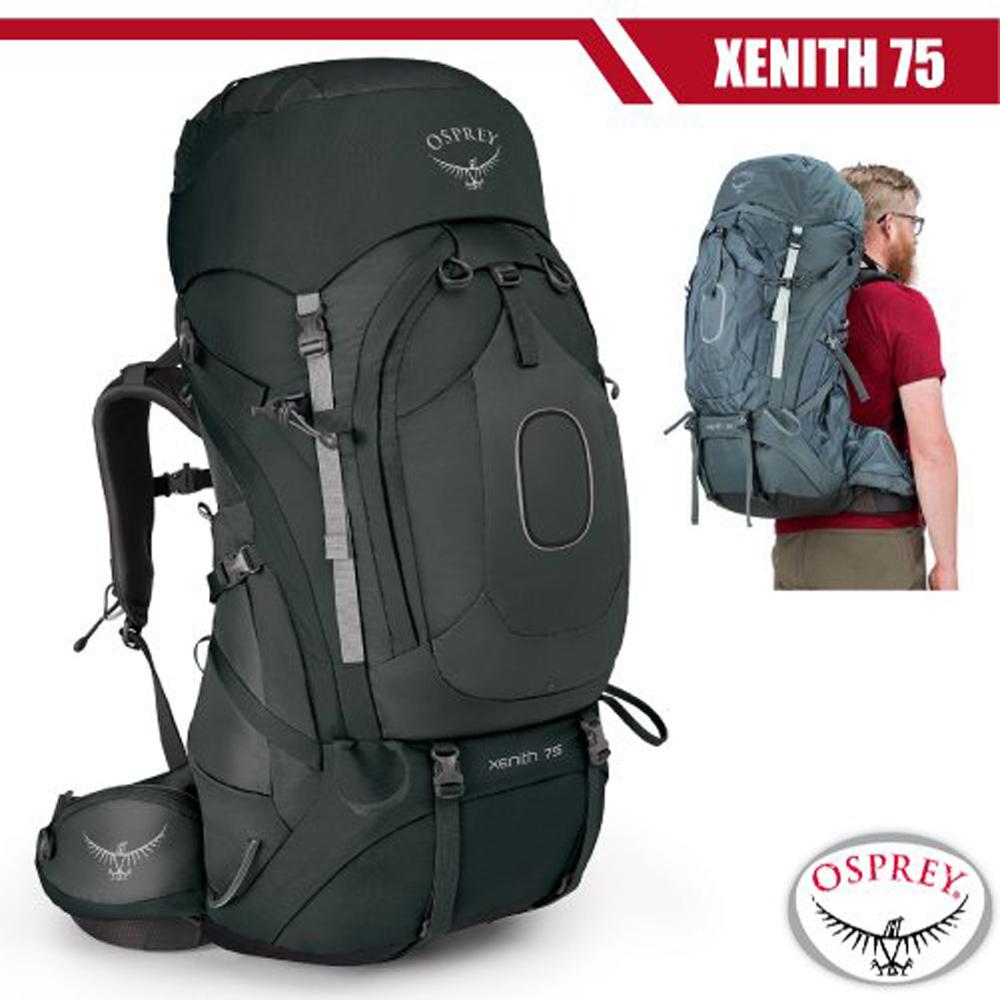 【美國 OSPREY】新款 Xenith 75L 專業輕量多功能登山背包M(頂部口袋+睡袋倉+緊急哨)_熔岩灰 R