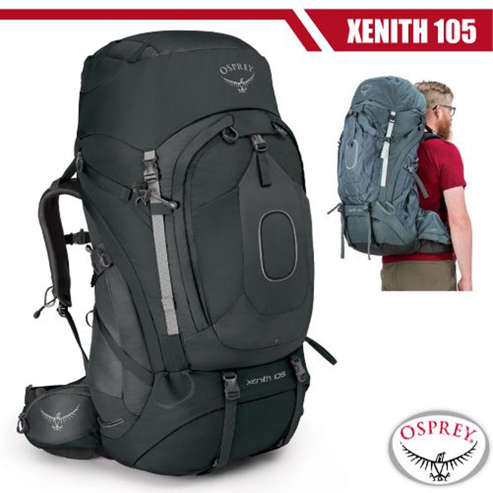 【美國 OSPREY】新款 Xenith 105L 專業輕量多功能登山背包M(頂部口袋+睡袋倉+緊急哨)_熔岩灰 R