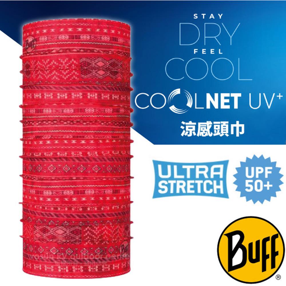 【西班牙 BUFF】高防曬 COOLNET 抗UV涼感降溫萬用魔術頭巾(超輕量.UPF 50+)/122502 赤紅印歐
