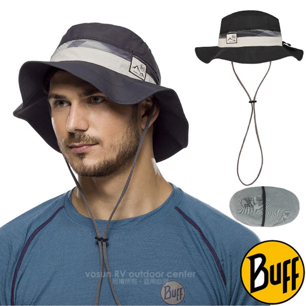 【西班牙 BUFF】高防曬 Booney Hat 抗UV可收納圓盤帽(輕量快乾.可折疊收納.UPF 50+)/122594 極簡黑墨