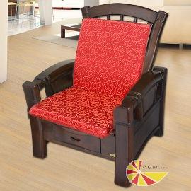 【凱蕾絲帝】木椅通~高支撐加厚連體L型坐墊(1入)-如意紅