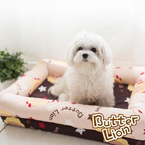 【奶油獅】台灣製造-保暖阻地氣-布套可拆洗-搖滾星星寵物記憶床墊-大(10-25kg適用)-卡其咖啡