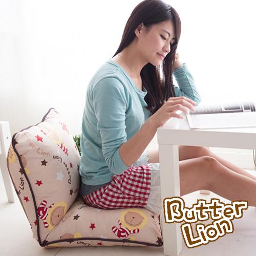【奶油獅】正版授權 台灣製造-和室房必購-可拆洗搖滾星星胖胖和室椅-米色_米白一入
