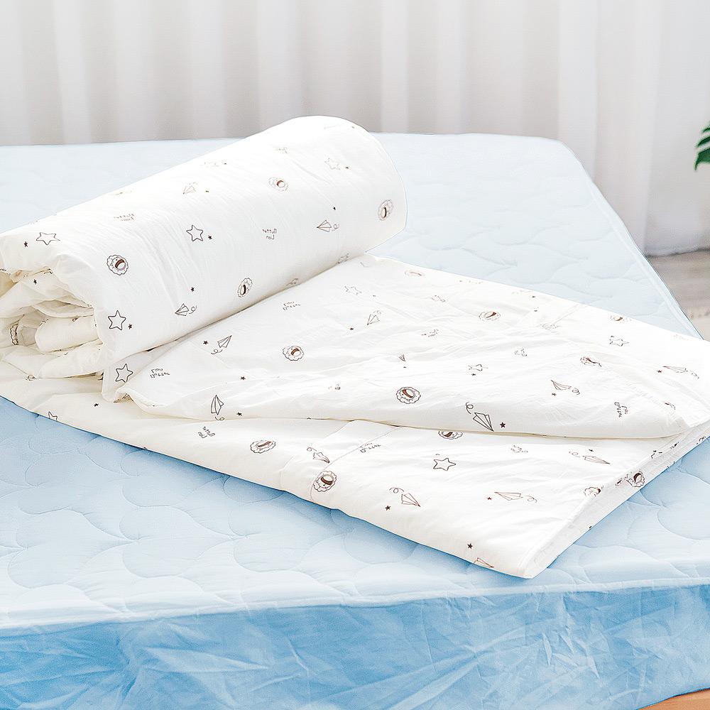 【奶油獅】星空飛行-台灣製造-美國抗菌100%純棉兩用被套(米)-7X8雙人特大