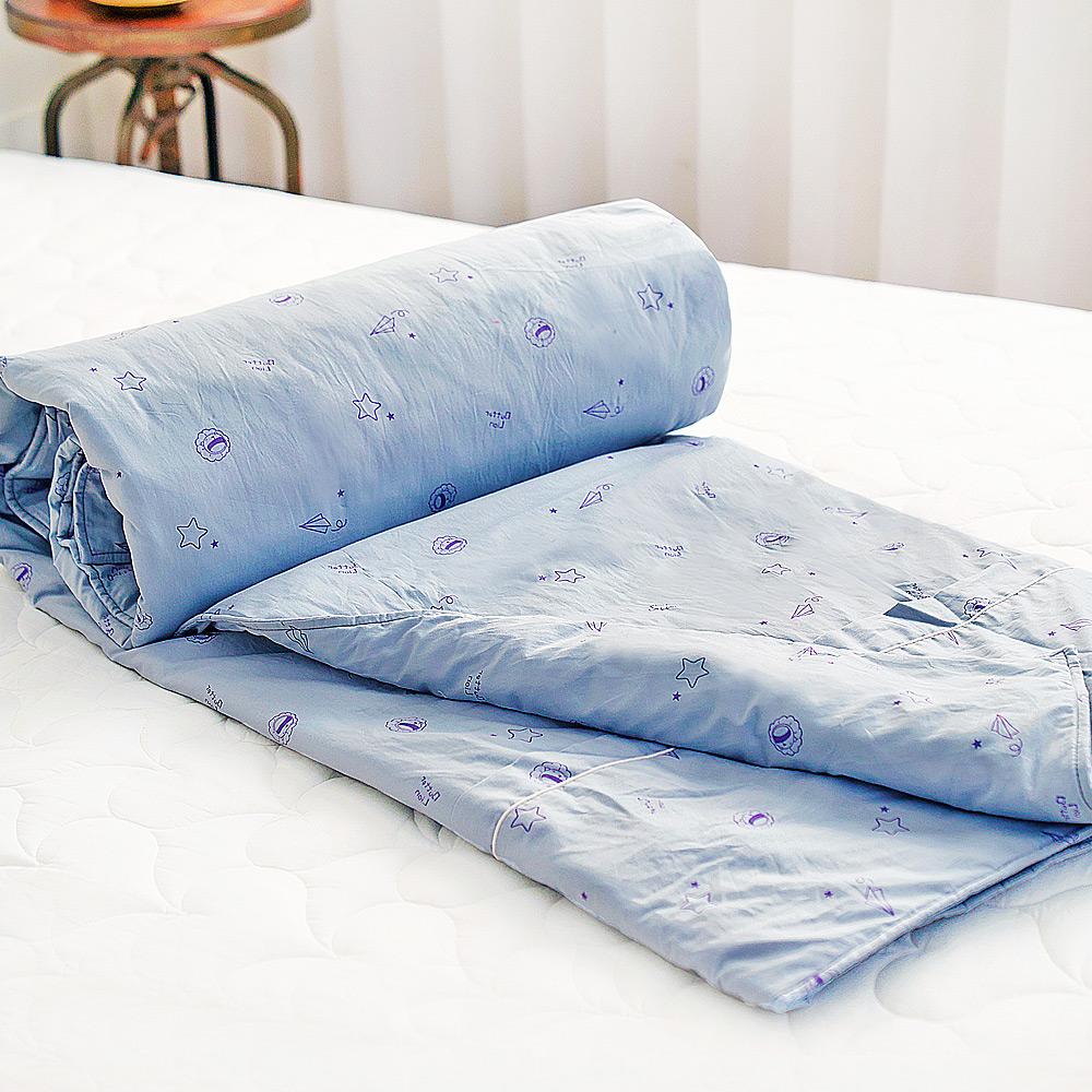 【奶油獅】星空飛行-台灣製造-美國抗菌100%純棉兩用被套(灰)-7X8雙人特大