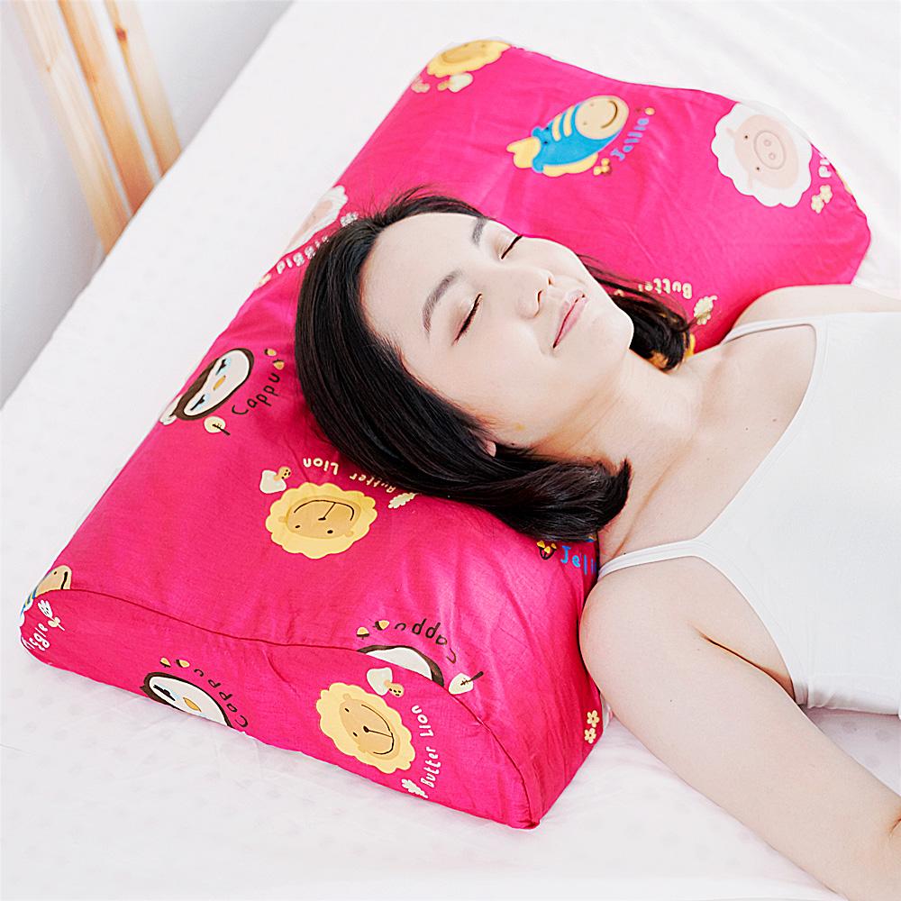 【奶油獅】同樂會系列-成人專用~馬來西亞進口100%純天然乳膠工學枕(莓果紅)2入