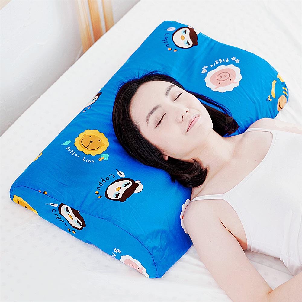 【奶油獅】同樂會系列-成人專用~馬來西亞進口100%純天然乳膠工學枕(宇宙藍)2入