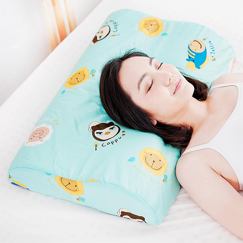 【奶油獅】同樂會系列-成人專用~馬來西亞進口100%純天然乳膠工學枕(湖水藍)2入