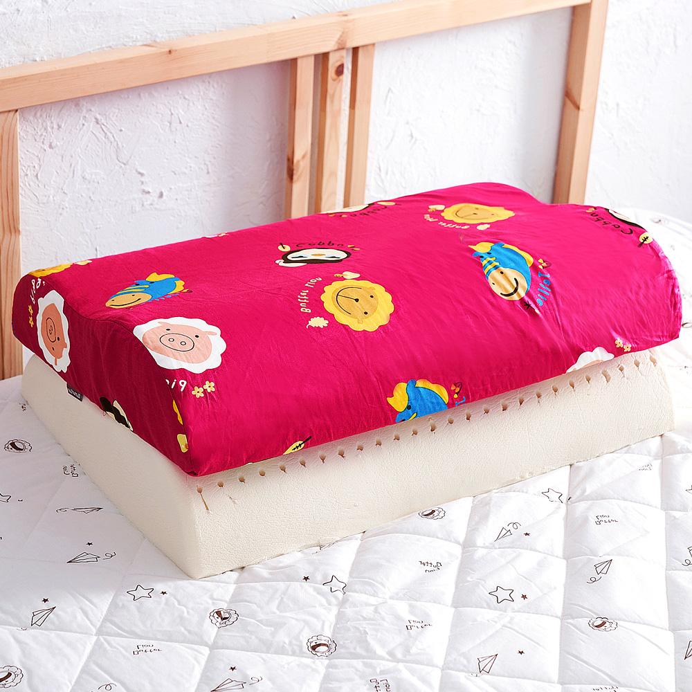 【奶油獅】同樂會系列-乳膠、記憶大枕專用100%純棉工學枕頭套(莓果紅)二入