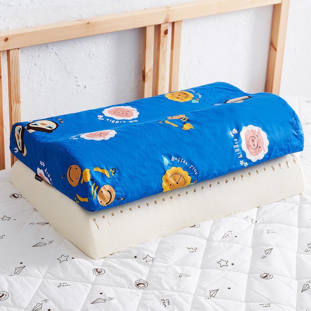 【奶油獅】同樂會系列-乳膠、記憶大枕專用100%純棉工學枕頭套(宇宙藍)二入