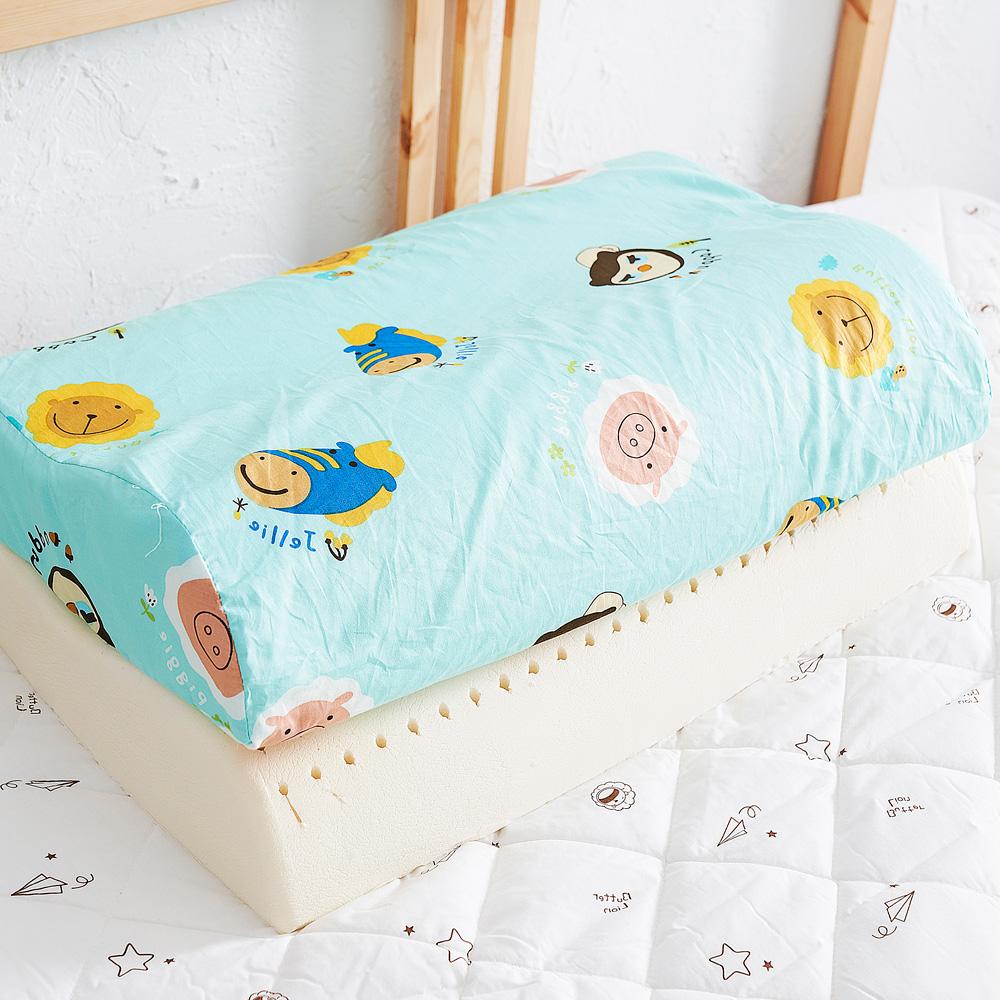 【奶油獅】同樂會系列-乳膠、記憶大枕專用100%純棉工學枕頭套(湖水藍)二入