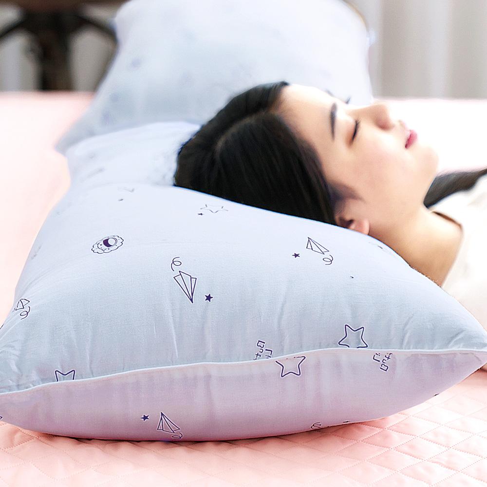【奶油獅】星空飛行-台灣製造-美國抗菌純棉表布澳洲天然羊毛竹炭枕-灰(2入)