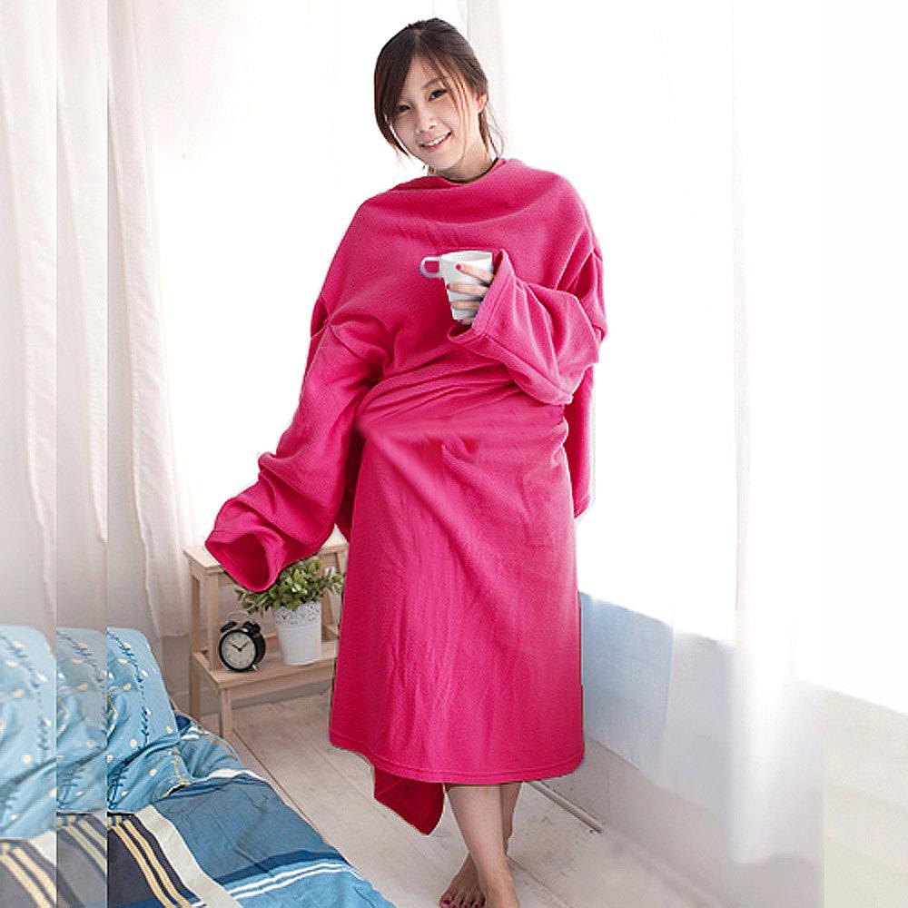 【米夢家居】100%台灣製造-保暖禦寒輕柔加厚懶人袖毯(桃紅)