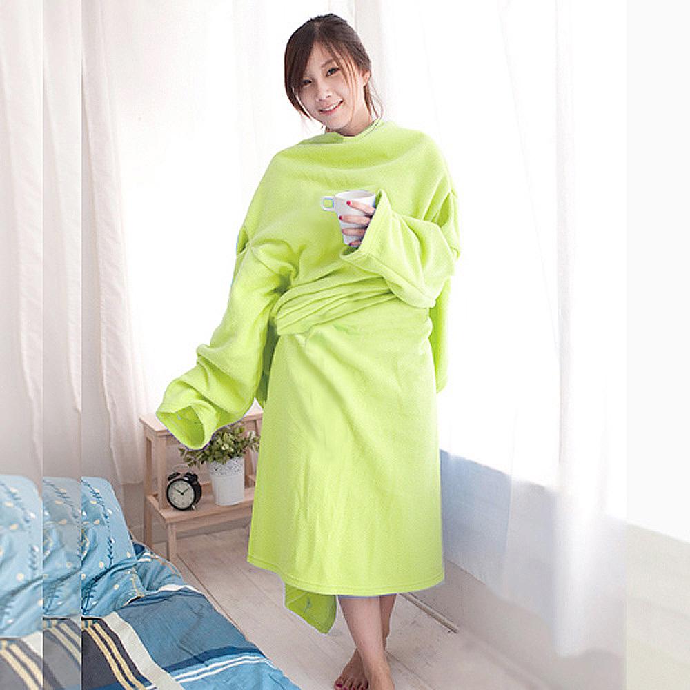 【米夢家居】100%台灣製造-保暖禦寒輕柔加厚懶人袖毯(芥茉綠)