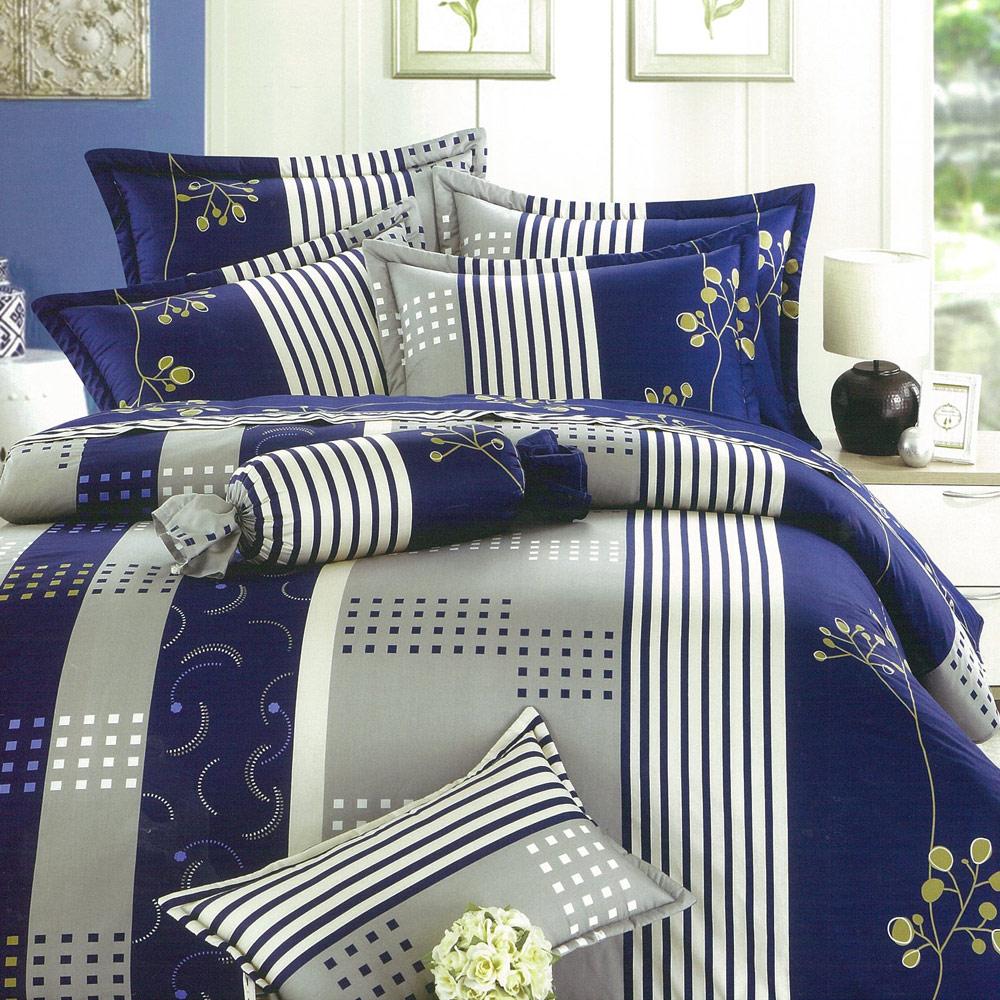 【eyah宜雅】全程台灣製100%精梳純棉雙人床罩兩用被全舖棉五件組-多蘭德