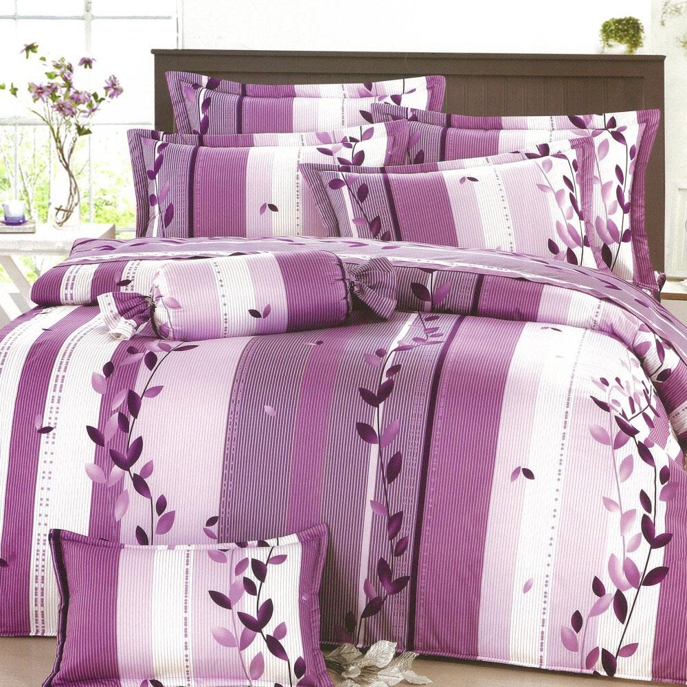 【eyah宜雅】全程台灣製100%精梳純棉雙人床罩兩用被全舖棉五件組-紫羅蘭之曲