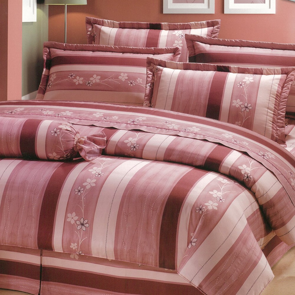 【eyah宜雅】全程台灣製100%精梳純棉雙人床罩兩用被全舖棉五件組-粉紅物語