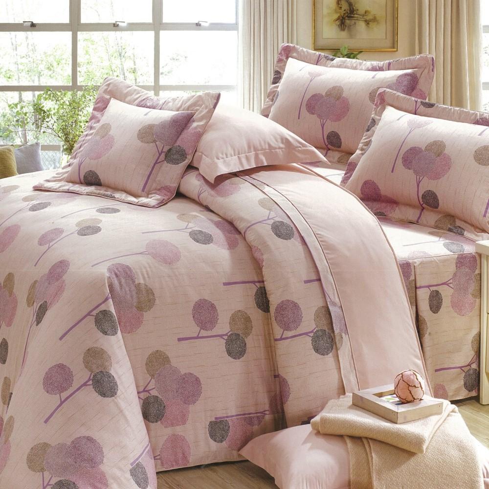【eyah宜雅】全程台灣製100%精梳純棉雙人床罩兩用被全舖棉五件組-輕鬆田園-粉
