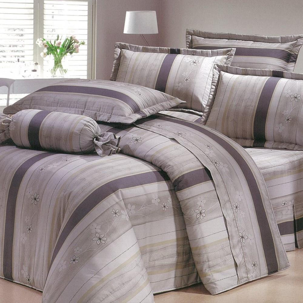【eyah宜雅】全程台灣製100%精梳純棉雙人床罩兩用被全舖棉五件組-灰白物語