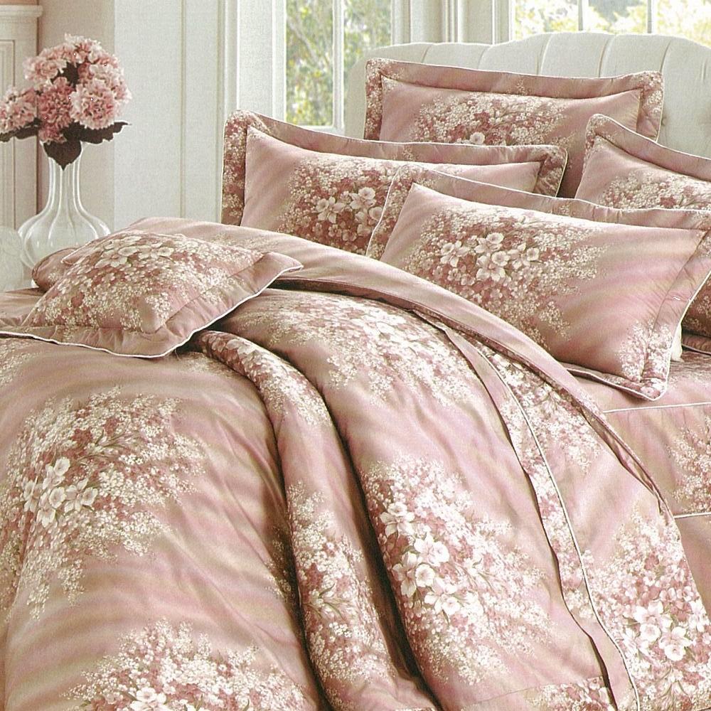 【eyah】全程台灣製100%精梳純棉雙人床罩兩用被全舖棉五件組-浪漫花語